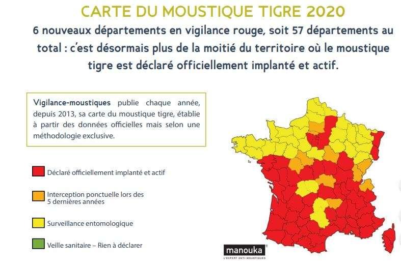 La carte de la présence du moustique-tigre en France. © Vigilance-Moustique