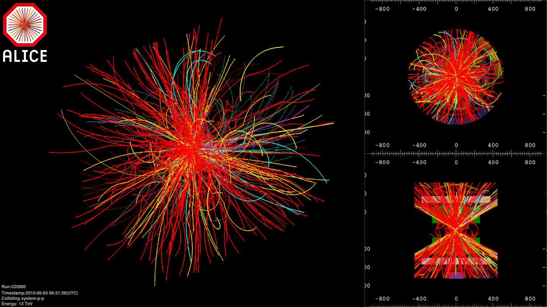Les premières images de collisions à 13 TeV dans le détecteur Alice. Les traces courbes montrent les particules chargées dont la trajectoire est infléchie par le champ magnétique de l'expérience. © Cern