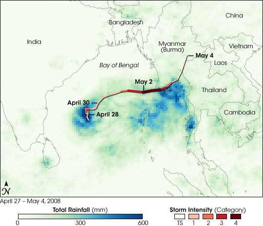 Figure 3. Le cheminement de Nargis suivi par le satellite TRMM, qui mesure les pluies tropicales. © Nasa/Jesse Allen/TRMM science team/Rebecca Lindsey