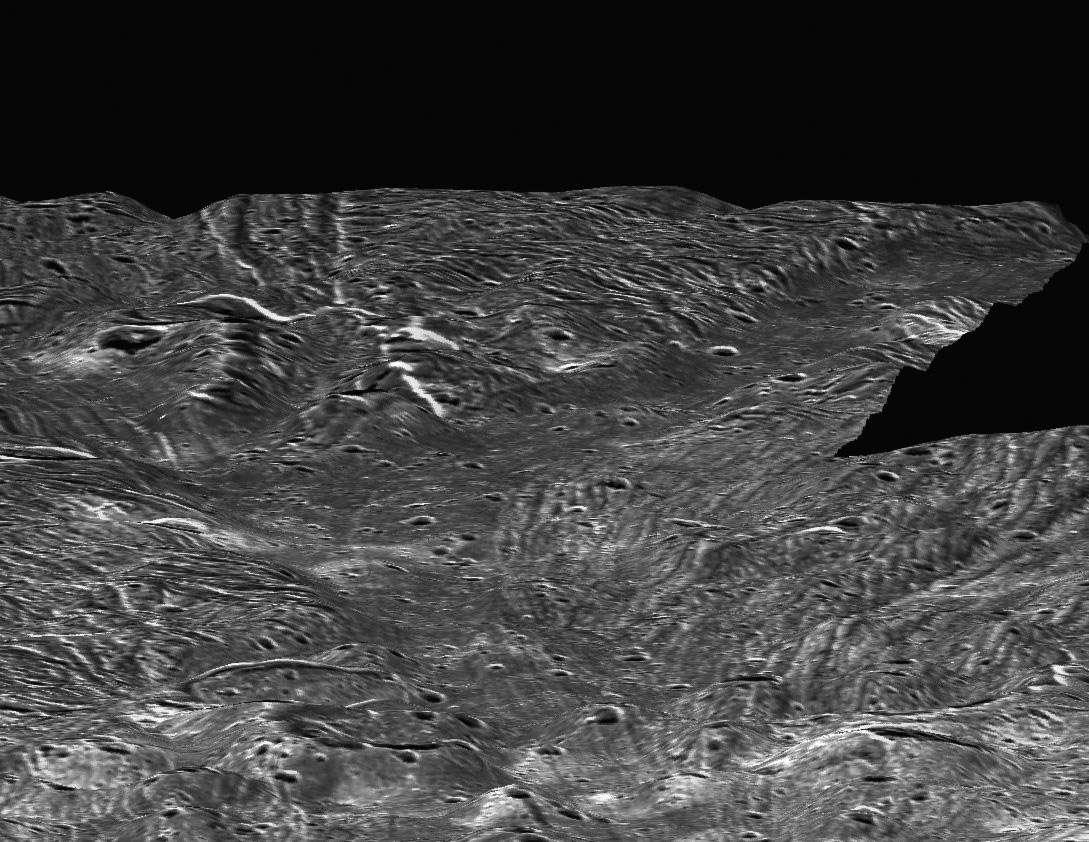 On suppose que l'intérieur de Ganymède renferme, comme Callisto, une grande étendue d'eau à l'état liquide entre deux couches de glace. Malgré l'envoi d'un atterrisseur à sa surface, les chances d'étudier cette eau sont nulles : l'état actuel de notre technologie ne nous le permet pas. © Nasa, JPL, LPI