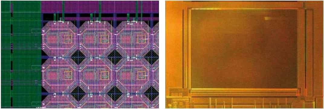 A gauche, un détail du circuit, qui mêle des photodiodes pour l'affichage et des éléments photosensibles. A droite, une image d'un des prototypes. © Fraunhofer Institute for Photonic Microsystems
