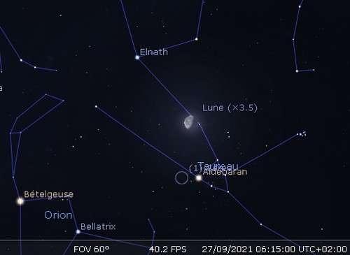 La Lune en rapprochement avec Cérès et Aldébaran