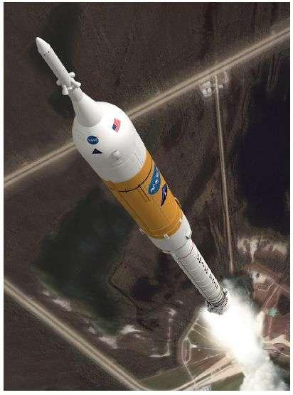 Le lanceur Ares 1 au décollage, emmenant la capsule Orion. Crédit Nasa