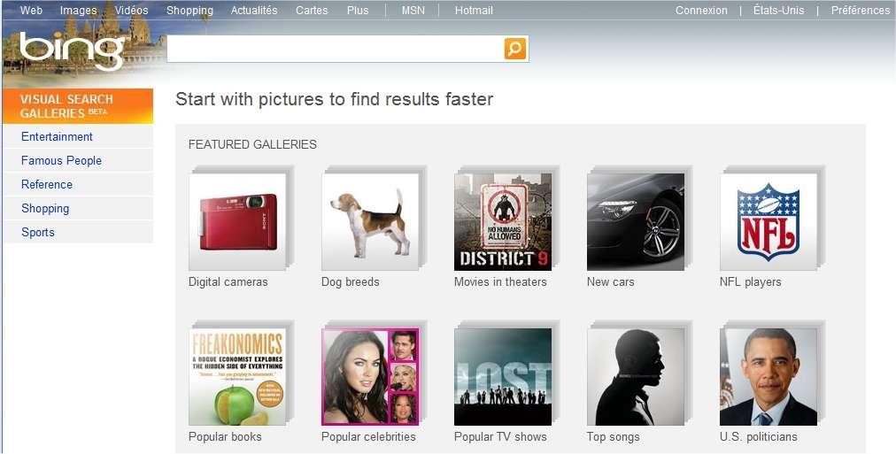 La page d'accueil de Bing Visual Search : des miniatures indiquant des thèmes pour lesquels sont possibles des recherches à l'aide de petites images.