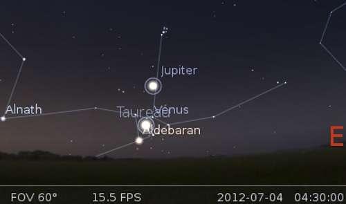 Le 04/07/2012 : Vénus traverse l'amas ouvert des Hyades. ©