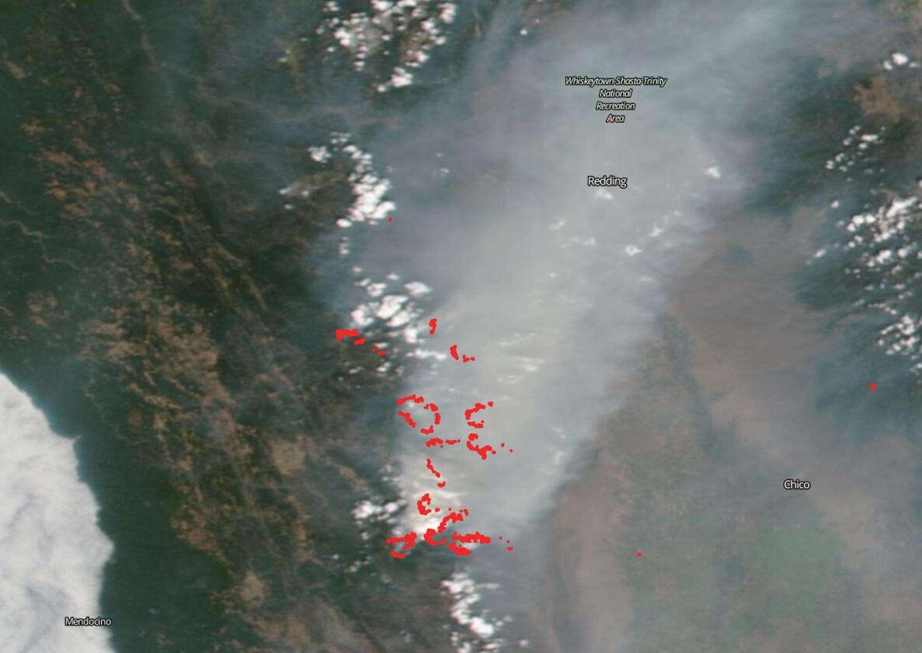Le giga-incendie du complexe d'août, en Californie, vu par le satellite Suomi NPP (NOAA, Nasa). © NASA Worldview, Earth Observing System Data and Information System (EOSDIS)