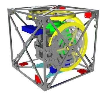 Ce dessin CAD dévoile l'architecture du Cubli. En jaune, les trois roues de réaction disposées selon des axes perpendiculaires. En vert, les trois moteur brushless qui les font tourner. En bleu, les microcontrôleurs qui commandent les moteurs régulant la vitesse des roues. En rouge, les six centrales inertielles composées d'un accéléromètre et d'une boussole, qui servent à déterminer la vitesse angulaire et l'inclinaison du cube. © École polytechnique fédérale de Zurich, Institute for Dynamic Systems and Control