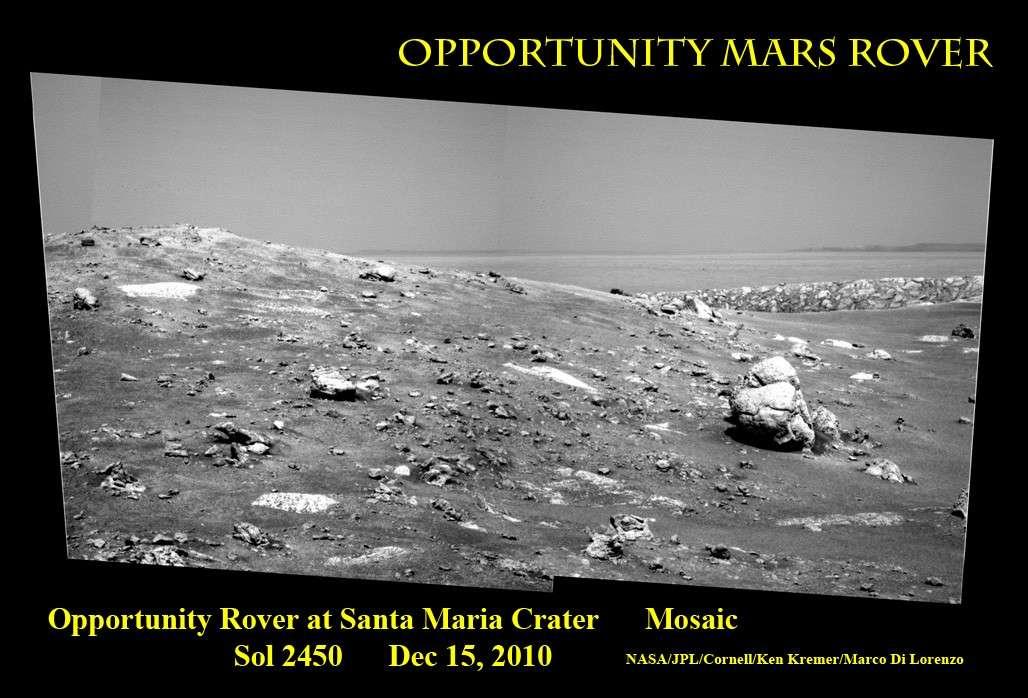 Le 15 décembre, Opportunity nous envoyait une carte postale des environs du cratère Santa Maria où il passera Noël. © Nasa/JPL/Cornell/ Ken Kremer, Marco Di Lorenzo
