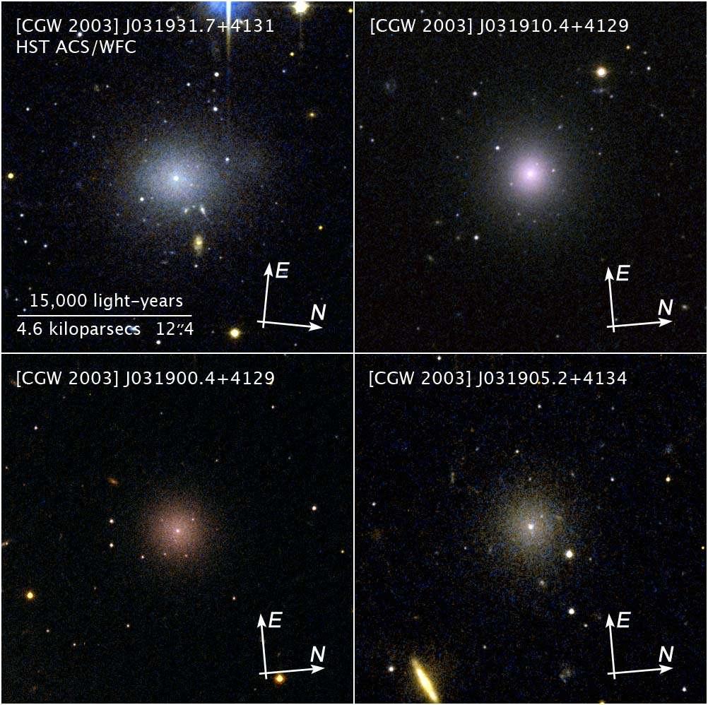 Examinées plus en détails, les galaxies naines de l'amas de Persée se révèlent très régulières. Crédit : Nasa, Esa, C. Conselice (université de Nottingham), Z. Levay (STScI)