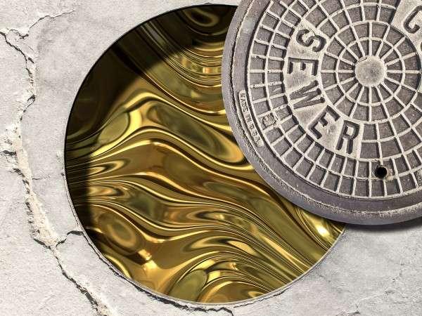 Des chercheurs de l'Arizona State University ont mesuré la quantité des métaux présents dans les boues d'épuration et évalué leur valeur. Une véritable mine d'or... © Michael Northrop, Biodesign Institute, ASU; (lid) ASP, Inc./DollarPhotoClub.com, (gold) Clearviewstock/iStockphoto