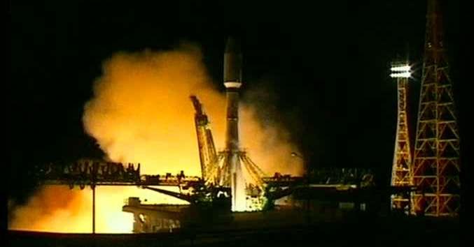 Le lancement du Soyouz emportant Metop-B, le 17 septembre 2012 depuis le cosmodrome de Baïkonour. © Eumetsat