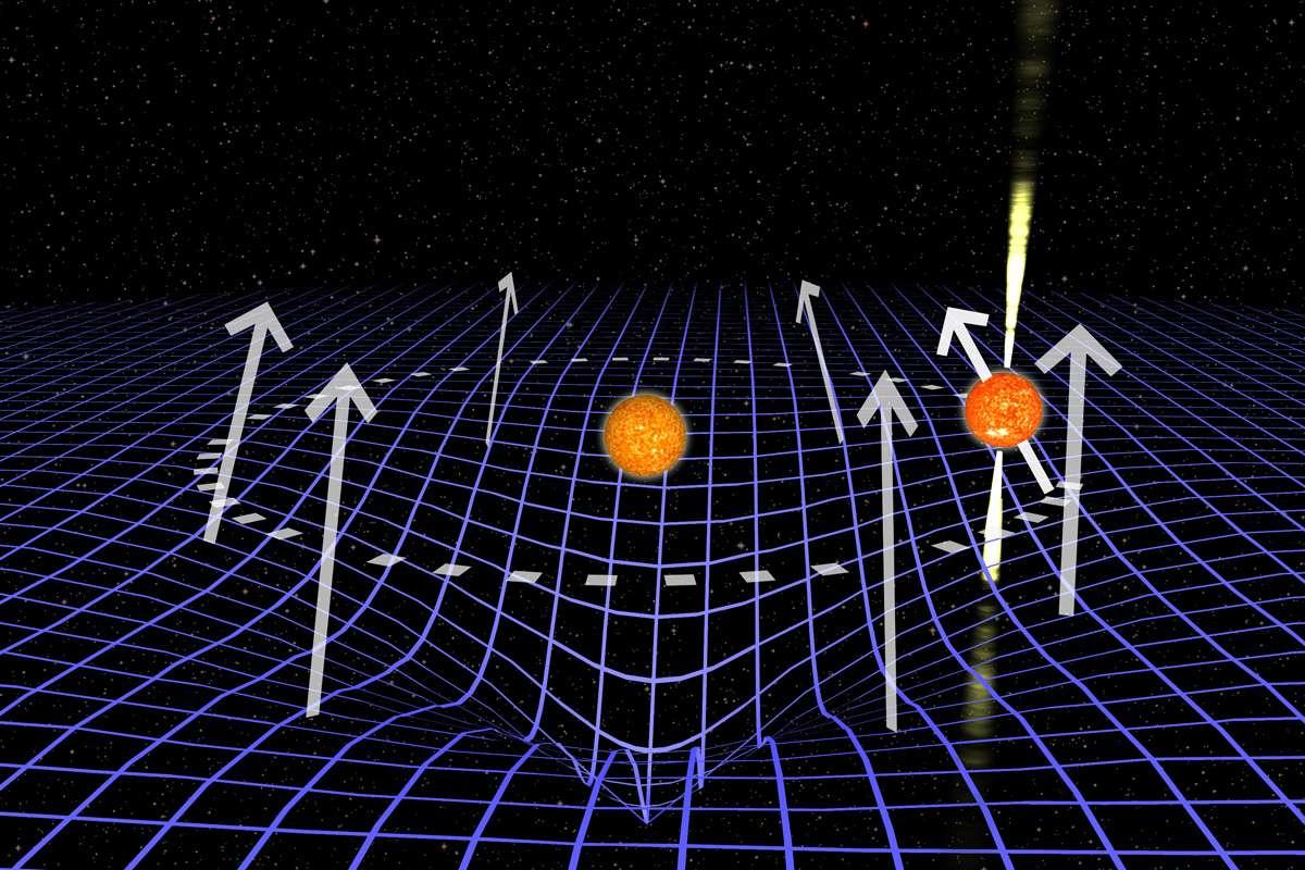 Une illustration de l'orbite du pulsar J1906 (sur la droite, avec des faisceaux radio) autour de son compagnon (au centre). Dans l'espace-temps courbé par ce compagnon (en bleu), l'axe de rotation du pulsar s'incline le long de son orbite. L'effet est exagéré un million de fois dans cette illustration. © Joeri van Leeuwen, Astron