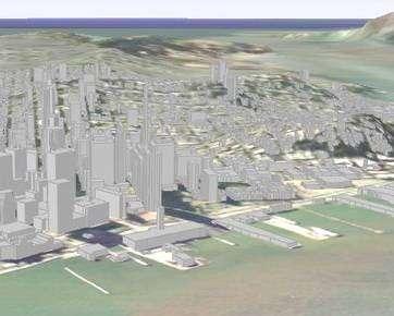 San Francisco en 3D dans Google Earth - les bâtiments sont encore des abstractions.
