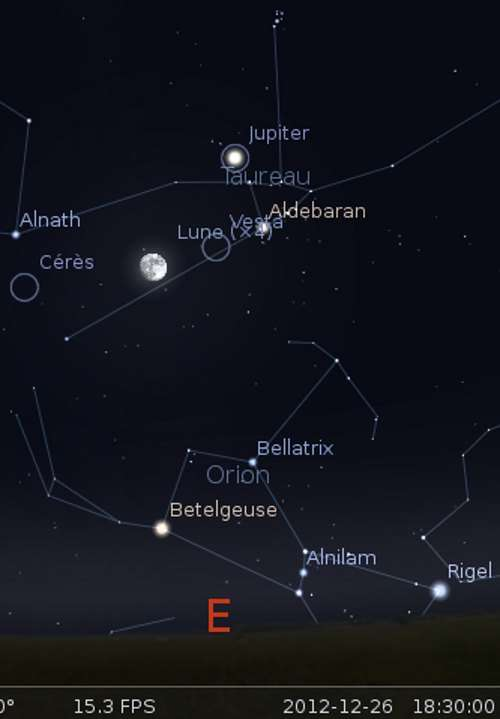 La Lune en rapprochement avec Vesta et Aldébaran