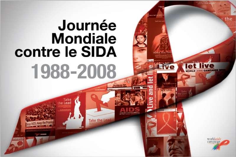 Chaque premier décembre, une piqûre de rappel contre le Sida, ce fléau planétaire. Logo créé par l'Onu.