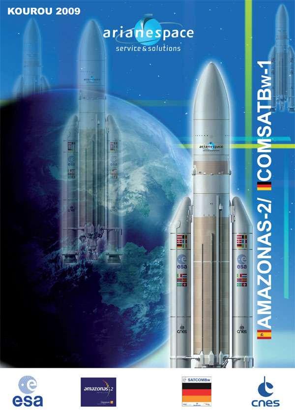 Deux satellites dans la coiffe d'Ariane, soit près de huit tonnes. © Arianespace