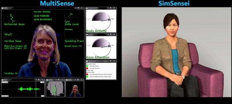 Cette capture d'écran montre en détail le fonctionnement de l'application MultiSense. Sur la gauche, on voit comment le capteur Kinect quadrille le visage de la personne afin de mesurer l'intensité de son sourire (smile level), le degré d'ouverture des yeux et de la bouche, la direction de son regard (horizontal gaze, vertical gaze). La fenêtre inférieure gauche affiche la mesure de l'intonation de la voix, et celle qui se trouve juste à côté montre la position du corps représentée par le squelette virtuel. Sur la droite, deux compteurs indiquent le niveau de l'activité corporelle (body activity) et de l'attention du regard (gaze attention). © Institute for Creative Technologies, USC