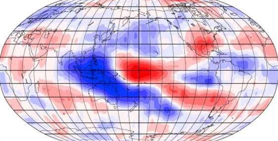 La hauteur des nuages dépend également des événements climatiques ayant cours sur Terre. Cette carte montre les conséquences du phénomène météorologique La Niña sur l'altitude de la couverture nuageuse au-dessus de l'Indonésie et de la région centrale du Pacifique. Les couleurs bleu et rouge représentent respectivement une augmentation et une diminution de l'altitude des nuages. L'intensité des couleurs est à mettre en relation avec l'importance des variations. © Université d'Auckland /Nasa JPL-Caltech