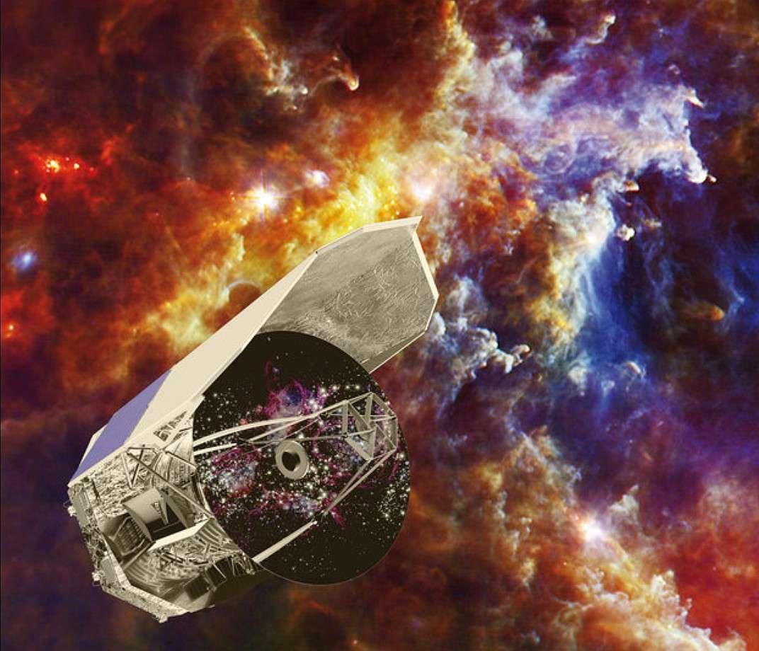 Le télescope Herschel reste à ce jour le plus grand télescope infrarouge en orbite. Sur cette vue d'artiste, il est représenté devant la nébuleuse de la Rosette. © C. Carreau, Esa