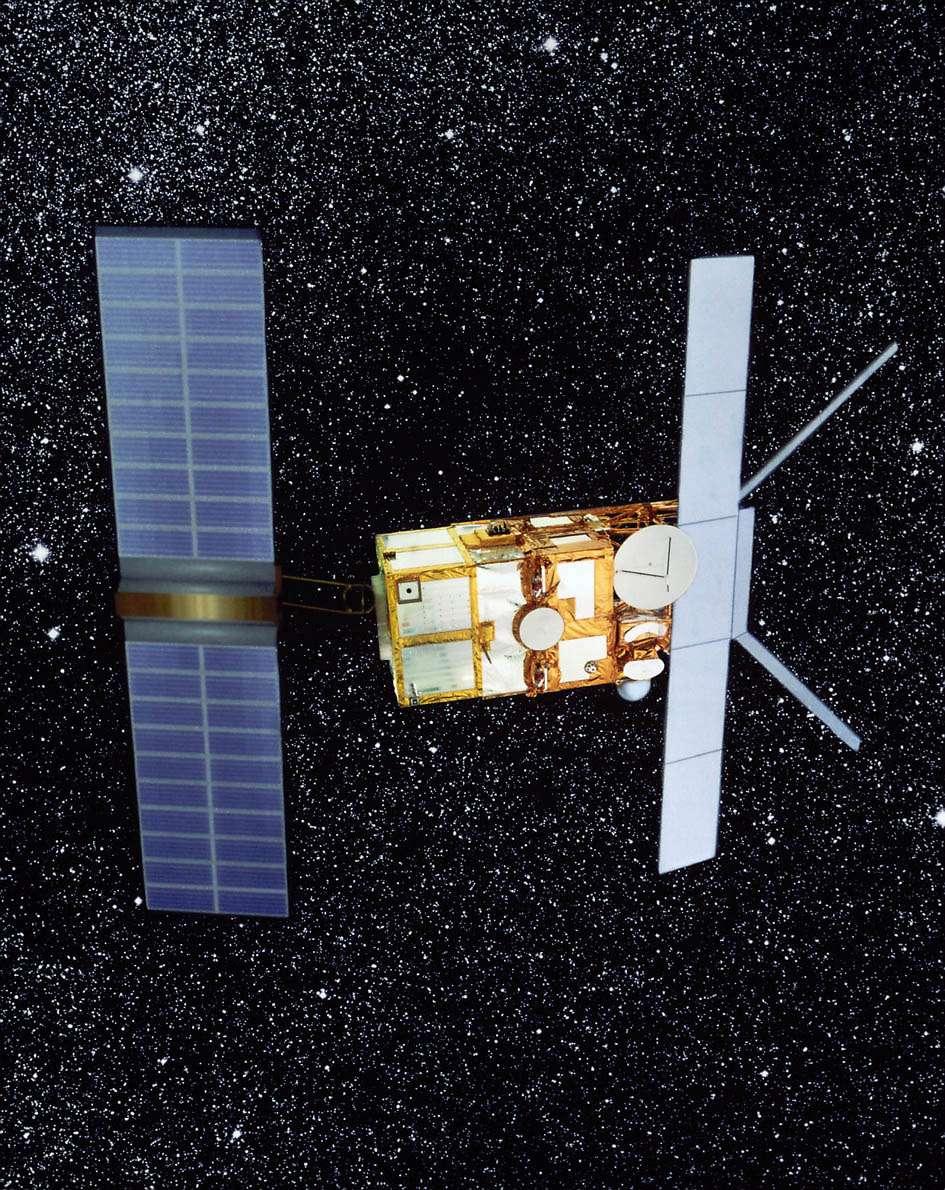 On retiendra du programme ERS l'exceptionnelle longévité des équipements et des instruments. Envisat a été lancé en 2002 en prévision de la perte du satellite ERS-2. 15 ans après son lancement, il fonctionne toujours… Crédit Esa