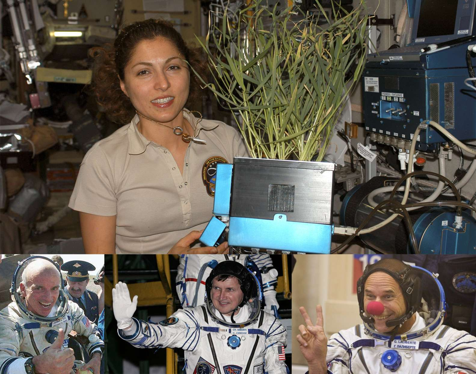 Quatre des sept touristes spatiaux qui ont rejoint l'ISS en prenant place à bord d'une capsule Soyuz. En haut, l'américano-iranienne Anousheh Ansari (2006) et en bas de gauche à droite, Dennis Tito, le premier touriste spatial (2001), Charles Simonyi qui vola deux fois (2007 et 2009) et le clown Guy Laliberté, dernier touriste de l'espace à avoir volé sur un Soyuz (2009). © DR