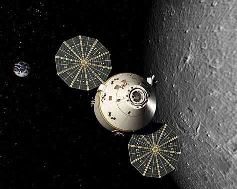 De conception moins ambitieuse que la navette, le futur vaisseau Orion sera néanmoins capable de rejoindre l'orbite lunaire. Crédit Nasa