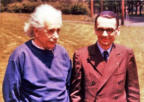 Einstein et Kurt Gödel. Ce dernier avait trouvé une solution cosmologique des équations d'Einstein, impliquant que le voyage dans le temps était possible. © Oskar Morgenstern Institute of Advanced Study