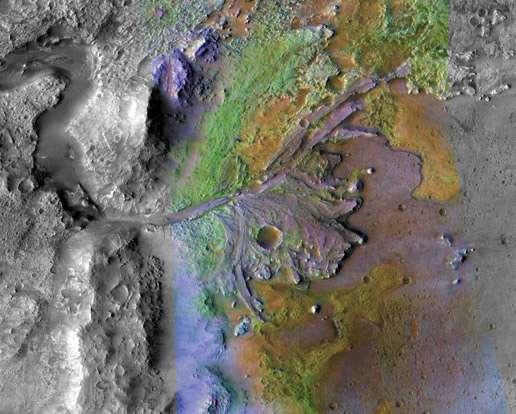 Le delta du cratère Jezero où sont visibles les argiles (en vert). Un bon site d'atterrissage pour explorer le passé de Mars. © Nasa/JPL/JHUAPL/MSSS/Brown University