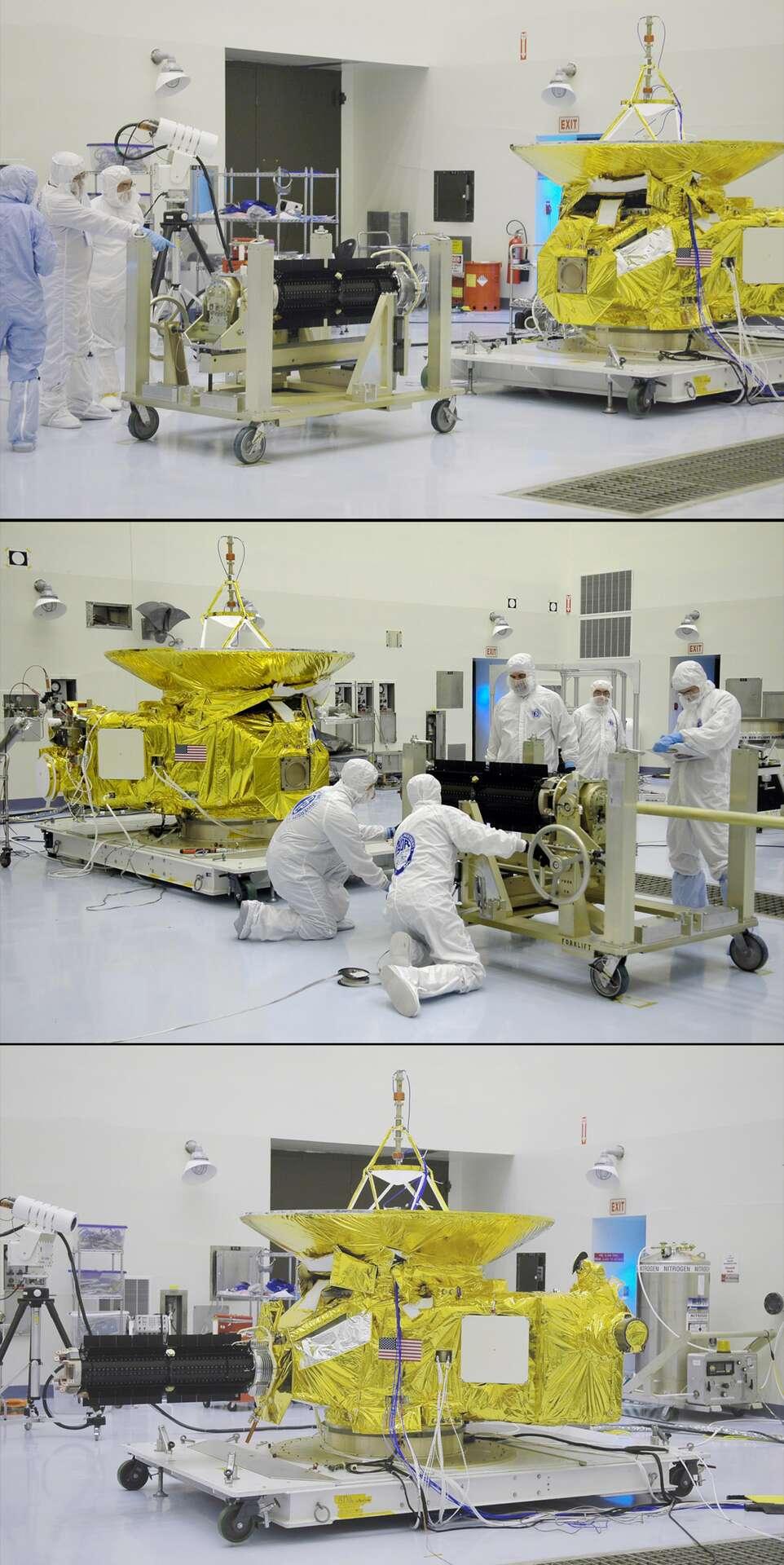 Installation du RTG de la sonde New Horizons de la Nasa, qui doit rejoindre la planète naine Pluton en juillet 2015. © Nasa