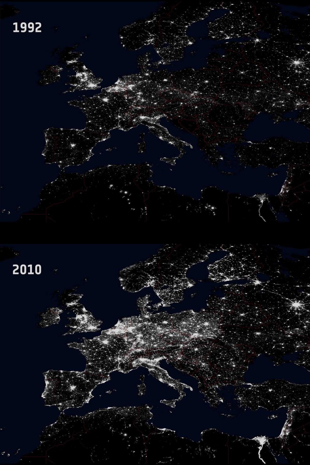 Dix-huit ans séparent ces deux images prises par les satellites américains DMSP. Elles révèlent l'augmentation considérable de la pollution lumineuse nocturne en Europe. © NGDC/DMSP/Esa