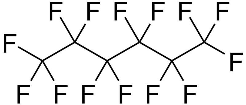 Les composés perfluorés sont formés d'une chaîne de carbone fluorée. © DR