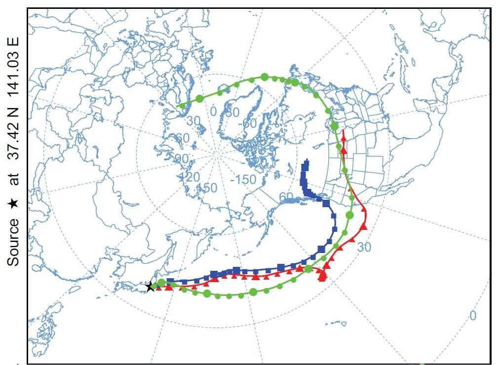 Simulation de la trajectoire du panache radioactif par la NOAA du 12 mars à 12 h TU au 21 mars à 6 h 00 TU. Commentaire de la Criirad : « Trois trajectoires sont considérées en fonction de l'altitude de départ des radionucléides : en vert notamment la trajectoire des particules radioactives émises à 50 mètres de hauteur (en bleu 500 mètres, en rouge 1.000 mètres, assez peu réaliste dans le cas de Fukushima). »
