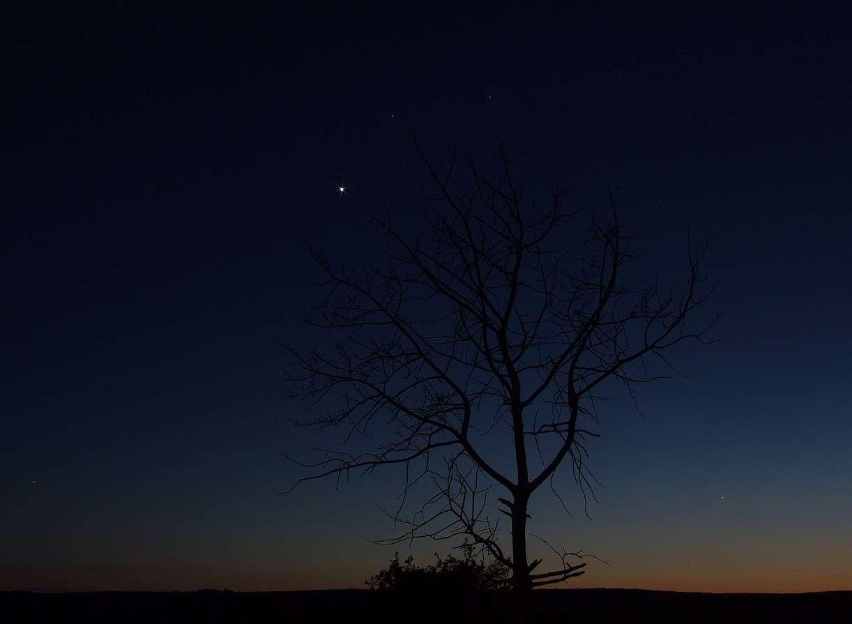 Si les étoiles vont devenir de plus en plus visibles à la fin de ce crépuscule, elles ne seront jamais assez nombreuses et lumineuses pour illuminer tout le ciel dans les longueurs d'onde accessibles à nos yeux. Crédits : J-B Feldmann