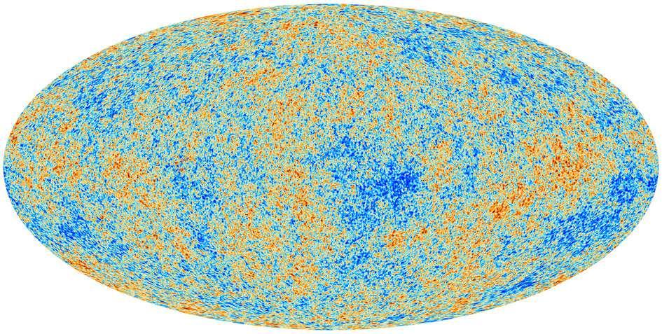 Voici la nouvelle carte des fluctuations de température du rayonnement fossile sur l'ensemble de la voûte céleste. Le pôle nord céleste est en haut et le pôle sud en bas. Elle a été réalisée par la collaboration Planck à partir des données recueillies par les instruments HFI et LFI du satellite. L'écart par rapport à la température moyenne de -270,425 °C, mesurée par le satellite Cobe en 1992, va de -486 (en bleu foncé) à +538 millionièmes de degré Celsius (en rouge). © Esa, collaboration Planck