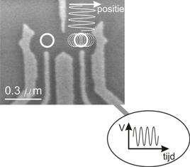 Image (en microscopie électronique) d'un montage nanométrique en or. Un champ électrique alternatif provoque le mouvement d'un électron piégé. Dans son référentiel, celui-ci subit alors un champ magnétique. © Kavli Institute of Nanosciences