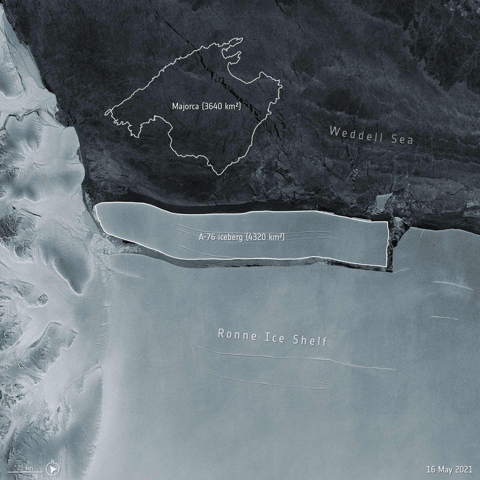 L'iceberg A-76, plus grand que l'île de Majorque, vient de se détacher de la banquise Antarctique. © ESA
