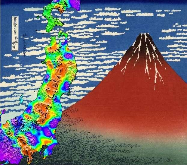 Le Fuji rouge de Katsushika Hokusai (peinture de 1830) a souffert du séisme de 2011. Cette couleur, en effet, est aussi celle du volcan (en bas à gauche, au-dessus de la péninsule touchant le bas de l'image) sur cette cartographie des variations de vitesses des ondes sismiques induites par le séisme. Elles témoignent des contraintes mécaniques auxquelles est soumis le sous-sol. © Florent Brenguier