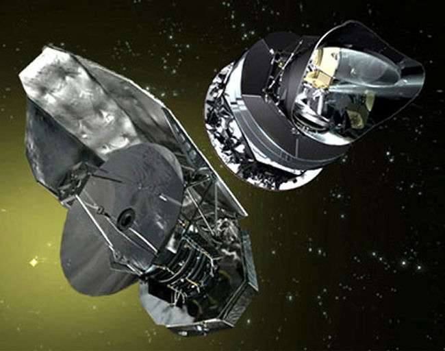 A gauche, Herschel et à droite Planck. Crédit : Esa
