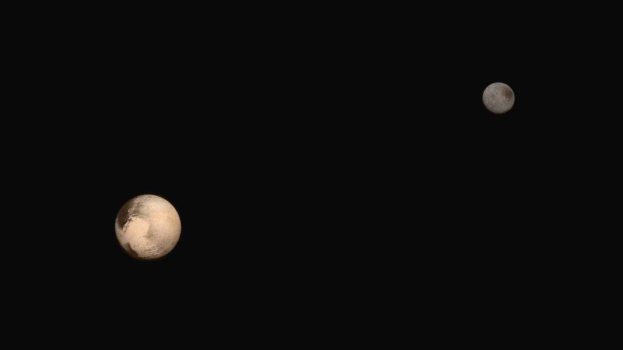 La dernière vue du couple Pluton-Charon, en deux images prises lors de l'approche. © Nasa/JHUAPL/SWRI