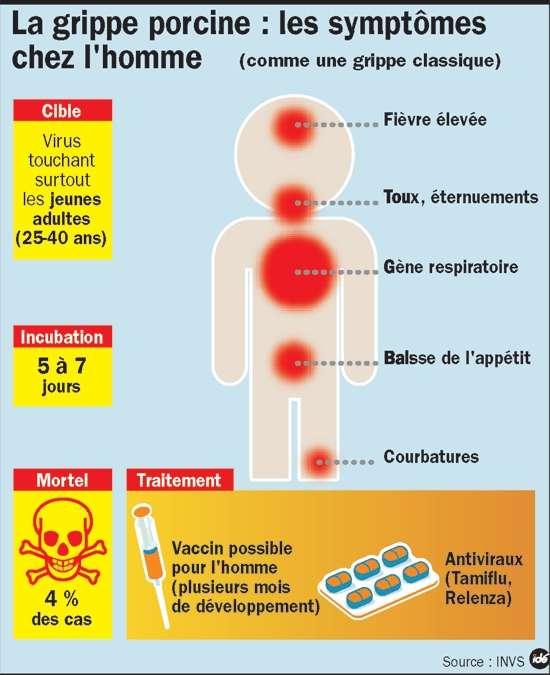 Les symptômes de la grippe A(H1N1), dite porcine, sont semblables à ceux de la grippe saisonnière. © Infographie IDE, source INVS