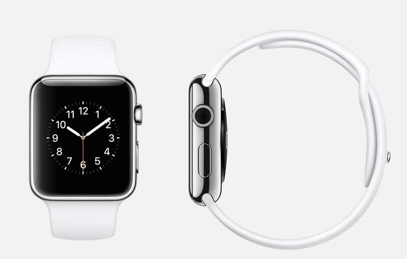 Voici à quoi ressemble la très attendue Apple Watch. La montre connectée fera office de compagnon pour l'iPhone (6, 6 Plus et 5) mais aussi de bracelet de suivi d'activité. Sa sortie est prévue début 2015. © Apple