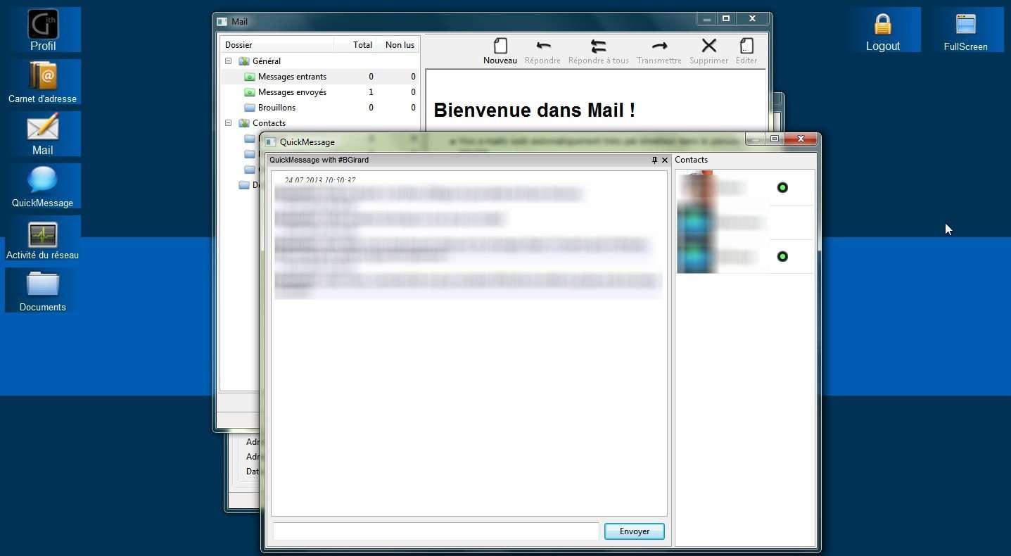 Le logiciel de communication Gith propose une interface dépouillée avec la possibilité d'afficher en plein écran ou sous la forme d'une barre de raccourcis flottant sur le Bureau. © Marc Zaffagni, Futura-Sciences