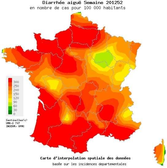 L'épidémie de gastroentérite frappe fort sur presque toute la France. Seule une partie de la région Champagne-Ardenne semble un peu moins sévèrement touchée par ces virus hivernaux. © Réseau Sentinelles