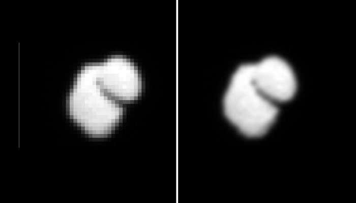 À gauche, la comète 67P/Churyumov-Gerasimenko photographiée par la caméra Osiris à bord de Rosetta, le 14 juillet dernier à environ 12.000 km de distance. À droite, on découvre le même cliché mais traité et interpolé afin de lisser les pixels. Sa dichotomie apparente était inattendu. © Esa, Rosetta, MPS, Osiris, UPD, Lam, IAA, SSO, Inta, UPM, DASP, Ida
