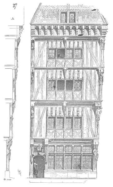 Au XVe siècle, l'encorbellement permet de concevoir des étages de plus en plus larges successivement. © Eugène Viollet le Duc, Domaine Public, Wikimedia Commons