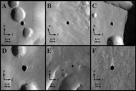 Les sept cavernes identifiées sur le sol martien par Mars Odyssey.