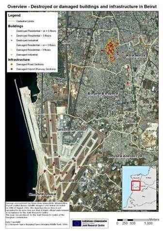 Image satellite de Beyrouth avec repérage des destructions