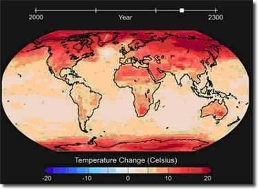 Les températures arctiques moyennes seraient supérieures de 14°C aux températures actuelles en 2100. Cette carte présente les évolutions globales à l'horizon de 2250.