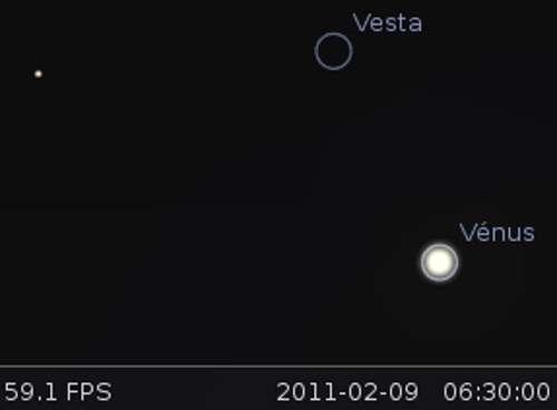 Vénus en rapprochement avec la planète naine Vesta