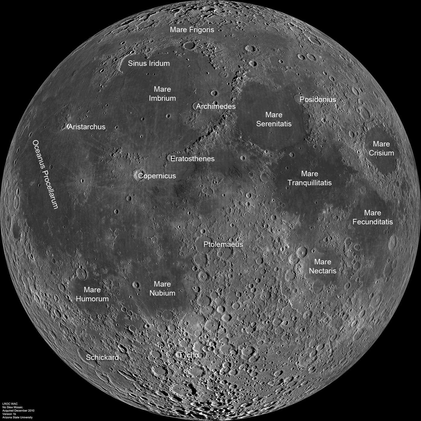 Mosaïque complète de la face visible de la Lune avec annotations. © Nasa/GSFC/Arizona State University